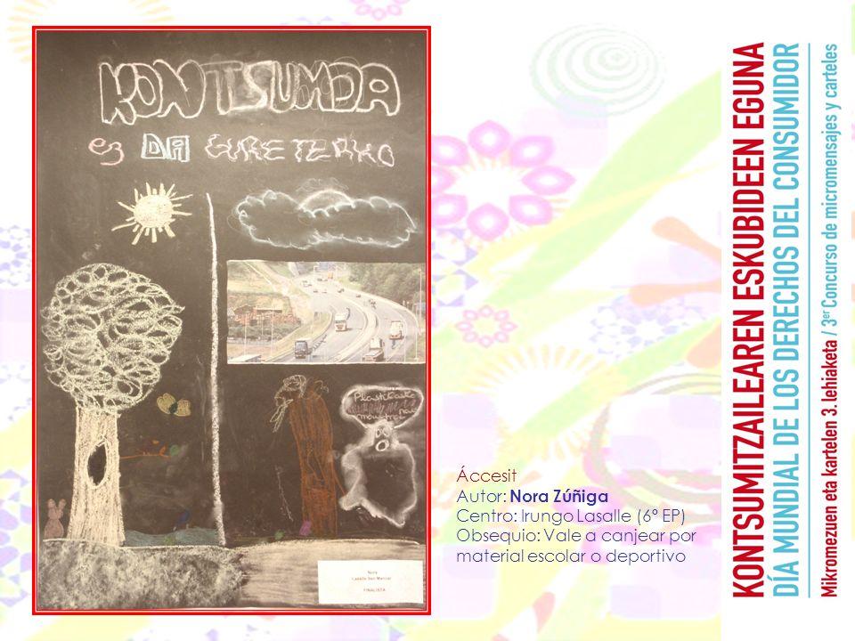 Áccesit Autor: Nora Zúñiga Centro: Irungo Lasalle (6º EP) Obsequio: Vale a canjear por material escolar o deportivo