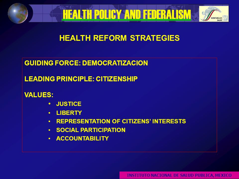 GUIDING FORCE: DEMOCRATIZACION LEADING PRINCIPLE: CITIZENSHIP VALUES: JUSTICE LIBERTY REPRESENTATION OF CITIZENS INTERESTS SOCIAL PARTICIPATION ACCOUNTABILITY HEALTH REFORM STRATEGIES HEALTH POLICY AND FEDERALISM INSTITUTO NACIONAL DE SALUD PUBLICA, MEXICO