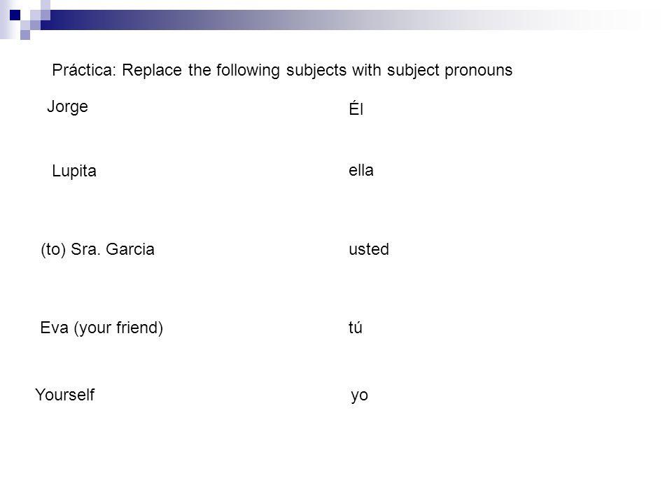Práctica: Replace the following subjects with subject pronouns Jorge Él Lupita ella (to) Sra. Garciausted Eva (your friend)tú Yourselfyo
