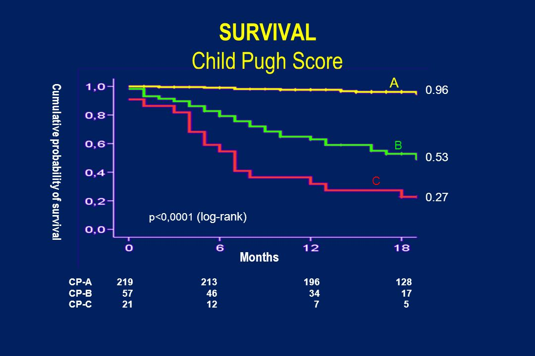 SURVIVAL Child Pugh Score A B C CP-A 219 213 196 128 CP-B 57 46 34 17 CP-C 21 12 7 5 p<0,0001 (log-rank) Cumulative probability of survival Months 0.9