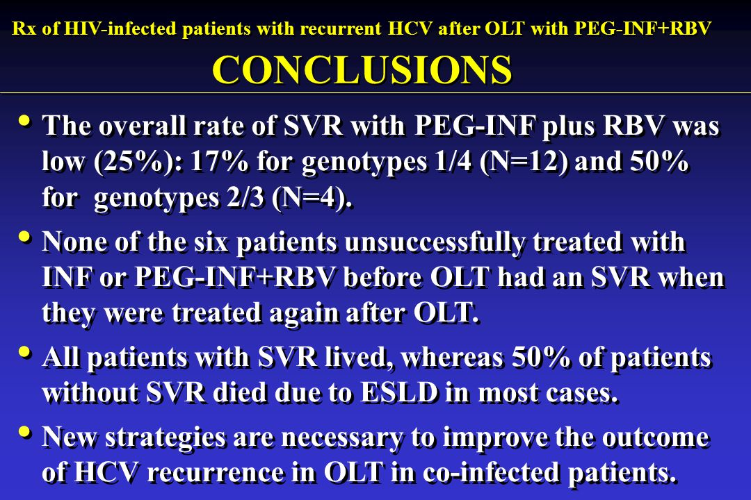 The overall rate of SVR with PEG-INF plus RBV was low (25%): 17% for genotypes 1/4 (N=12) and 50% for genotypes 2/3 (N=4).