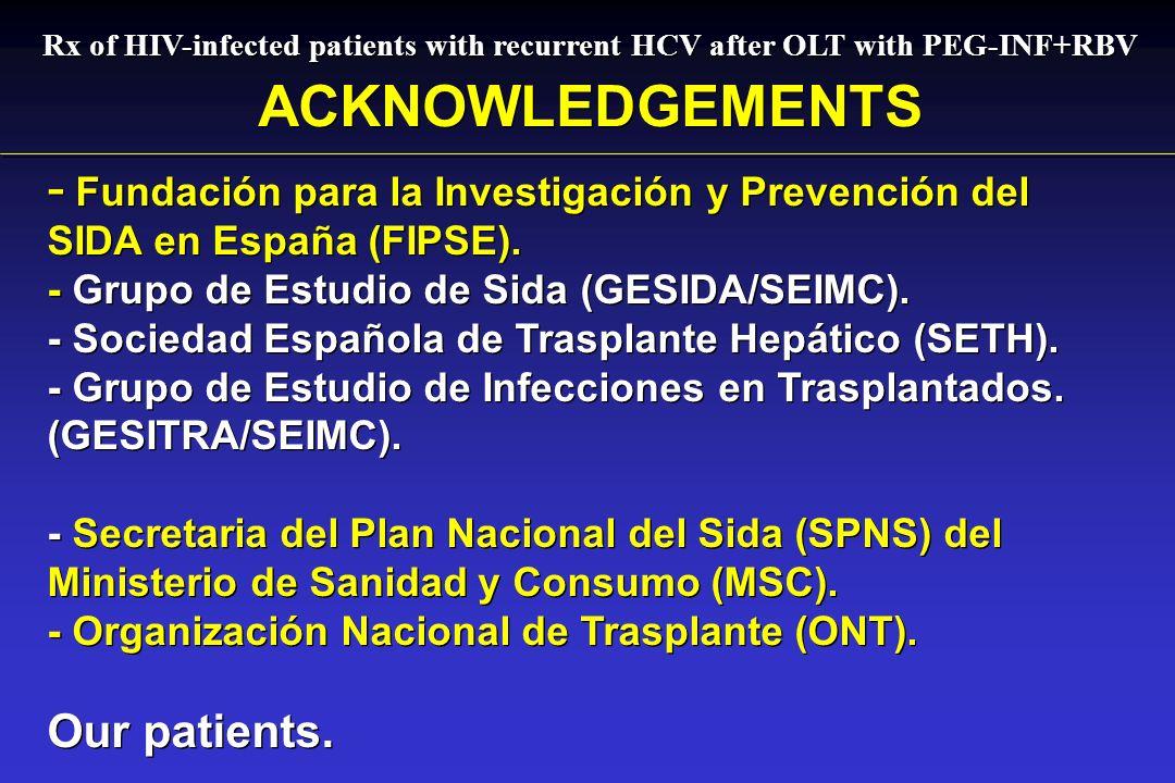 Rx of HIV-infected patients with recurrent HCV after OLT with PEG-INF+RBV ACKNOWLEDGEMENTS - - Fundación para la Investigación y Prevención del SIDA en España (FIPSE).
