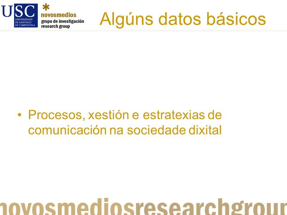 Algúns datos básicos Procesos, xestión e estratexias de comunicación na sociedade dixital