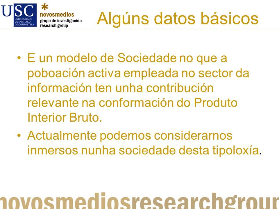 Algúns datos básicos E un modelo de Sociedade no que a poboación activa empleada no sector da información ten unha contribución relevante na conformación do Produto Interior Bruto.