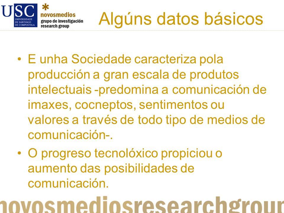 Algúns datos básicos E unha Sociedade caracteriza pola producción a gran escala de produtos intelectuais -predomina a comunicación de imaxes, cocneptos, sentimentos ou valores a través de todo tipo de medios de comunicación-.