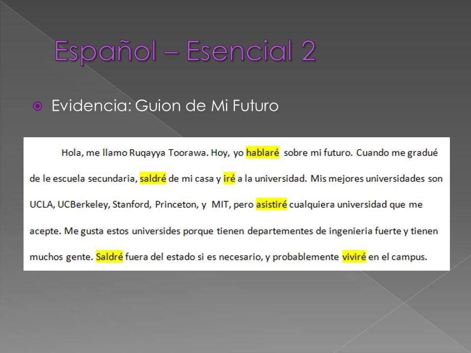 Evidencia: Guion de Mi Futuro
