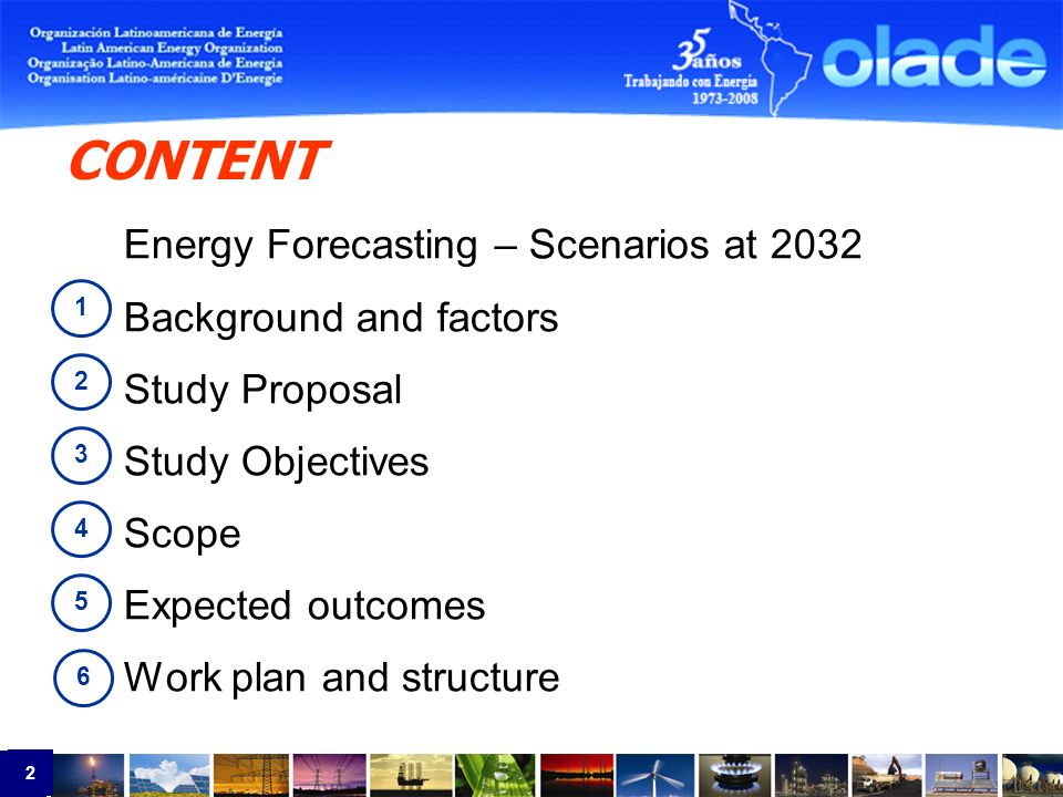 2 2 1 2 3 4 CONTENT Energy Forecasting – Scenarios at 2032 Background and factors Study Proposal Study Objectives Scope Expected outcomes Work plan and structure 5 6