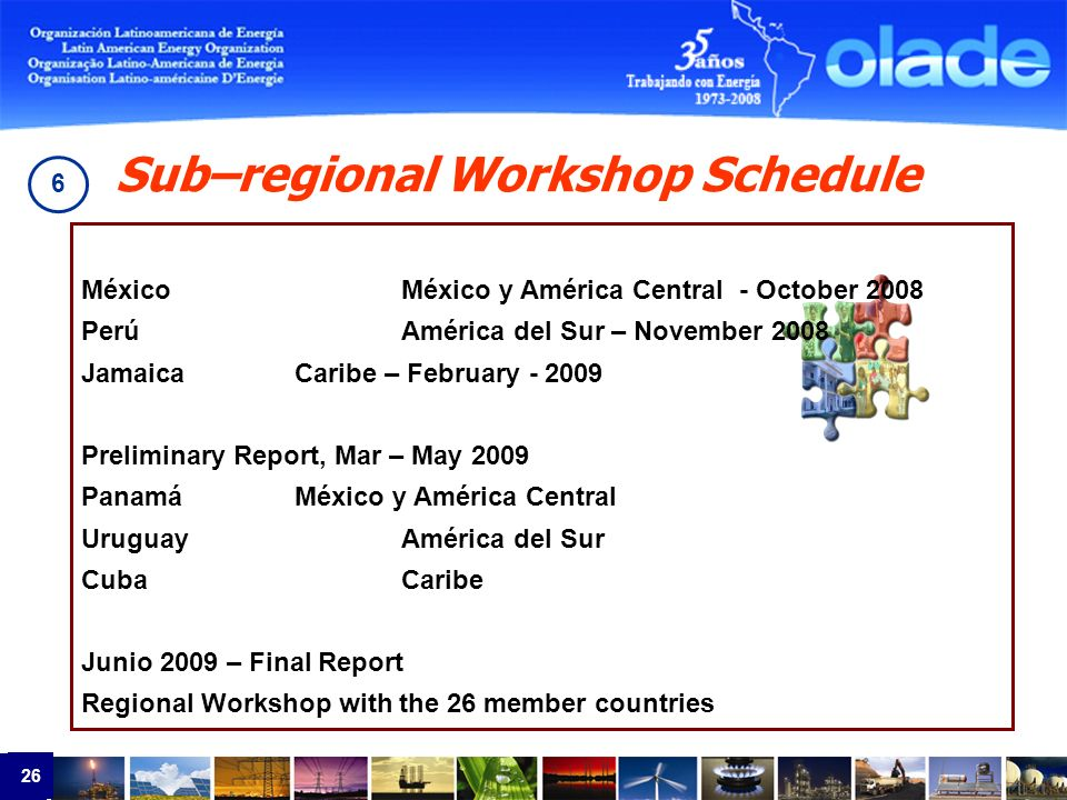 26 México México y América Central - October 2008 PerúAmérica del Sur – November 2008 JamaicaCaribe – February - 2009 Preliminary Report, Mar – May 2009 PanamáMéxico y América Central UruguayAmérica del Sur CubaCaribe Junio 2009 – Final Report Regional Workshop with the 26 member countries Sub–regional Workshop Schedule 6