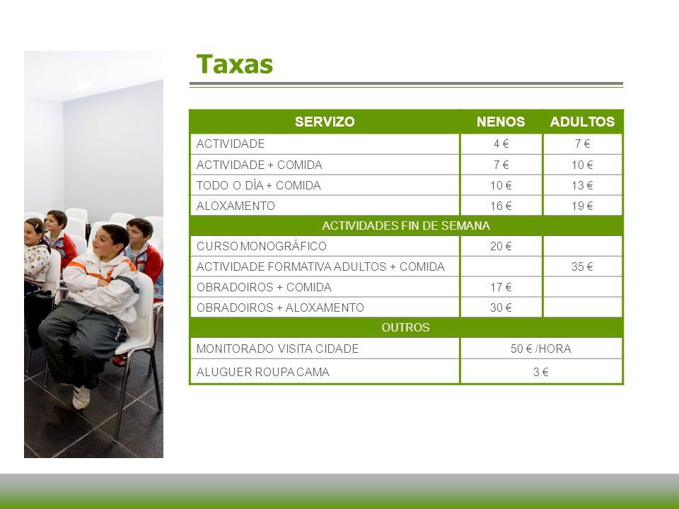 Taxas SERVIZONENOSADULTOS ACTIVIDADE4 7 ACTIVIDADE + COMIDA7 10 TODO O DÍA + COMIDA10 13 ALOXAMENTO16 19 ACTIVIDADES FIN DE SEMANA CURSO MONOGRÁFICO20 ACTIVIDADE FORMATIVA ADULTOS + COMIDA35 OBRADOIROS + COMIDA17 OBRADOIROS + ALOXAMENTO30 OUTROS MONITORADO VISITA CIDADE50 /HORA ALUGUER ROUPA CAMA3
