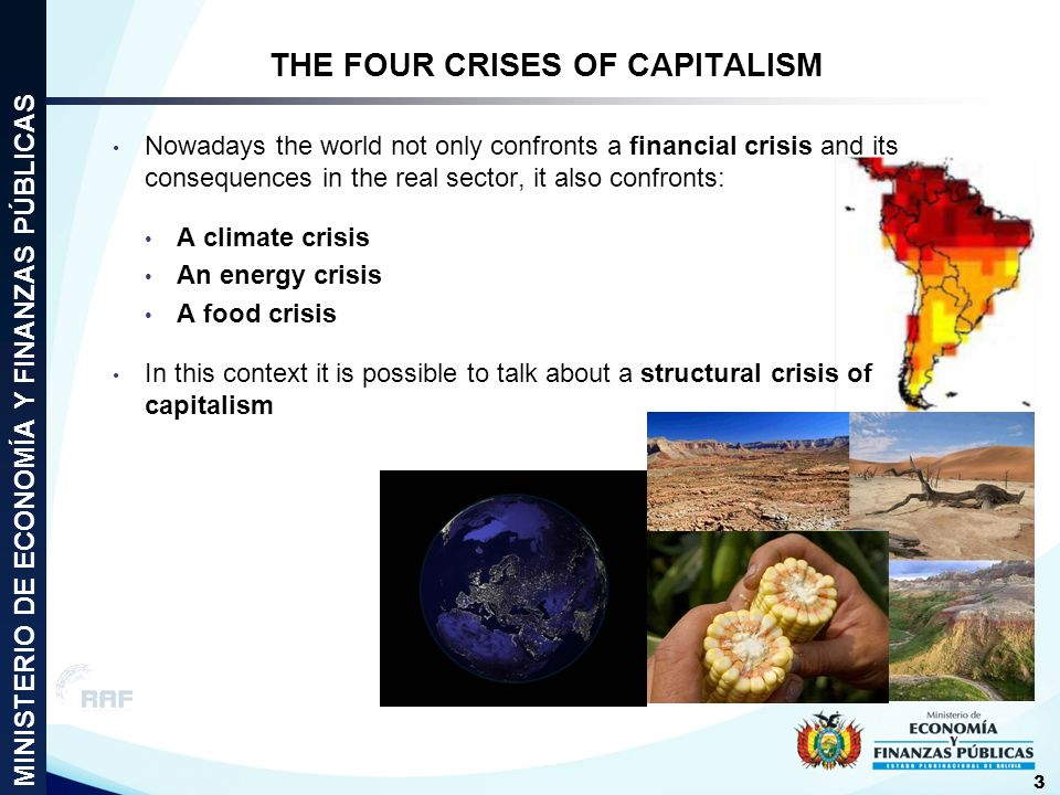 Nowadays the world not only confronts a financial crisis and its consequences in the real sector, it also confronts: A climate crisis An energy crisis