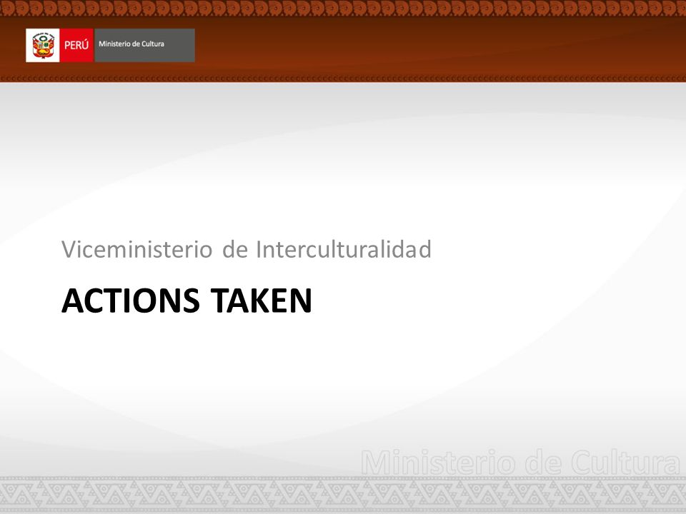 ACTIONS TAKEN Viceministerio de Interculturalidad