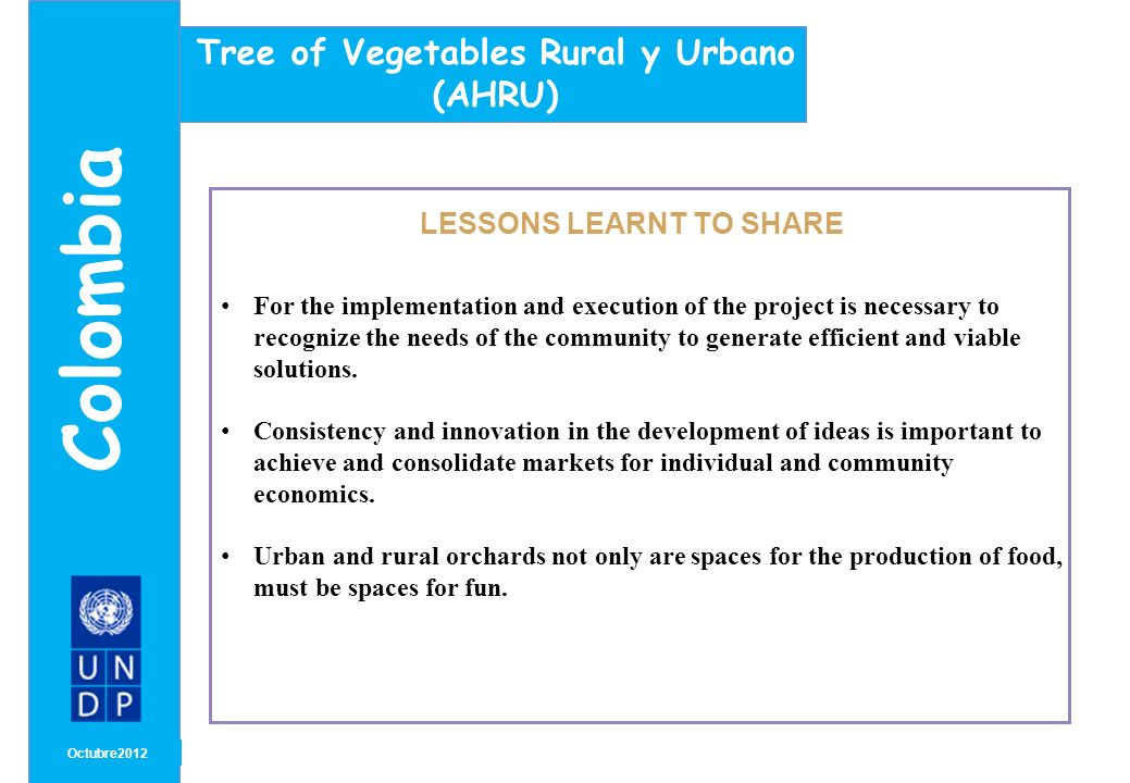 MONTH/ YEAR LESSONS LEARNT TO SHARE Octubre2012 Colombia Tree of Vegetables Rural y Urbano (AHRU) For the implementation and execution of the project is necessary to recognize the needs of the community to generate efficient and viable solutions.