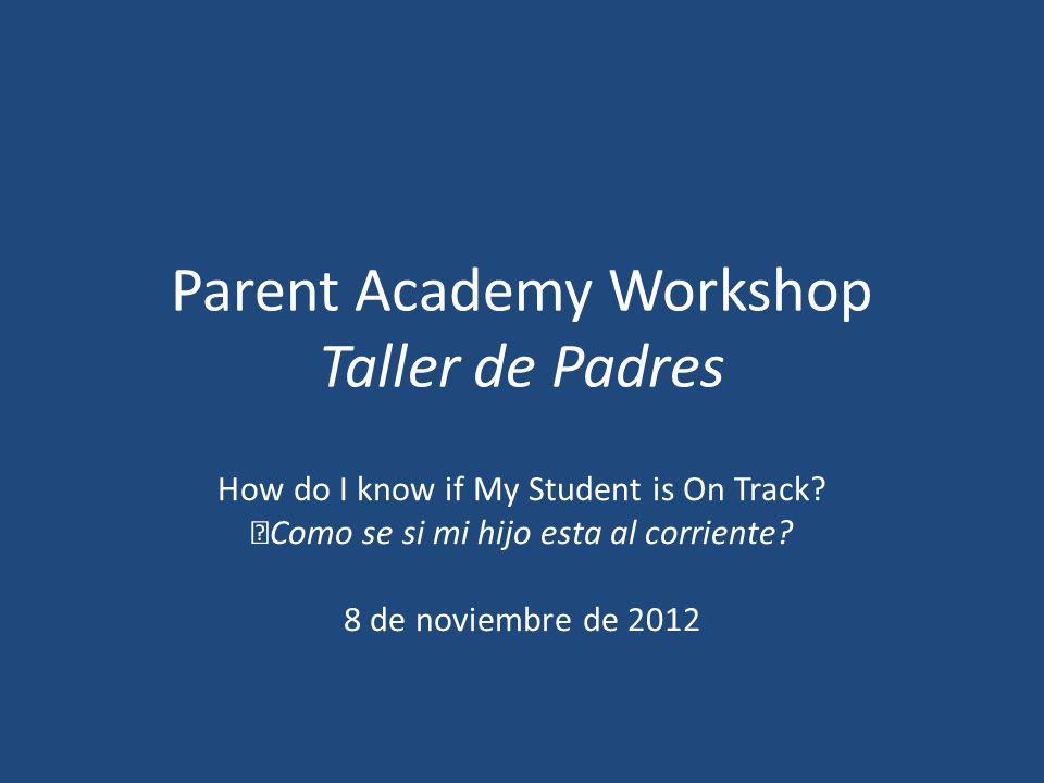 Parent Academy Workshop Taller de Padres How do I know if My Student is On Track? Como se si mi hijo esta al corriente? 8 de noviembre de 2012