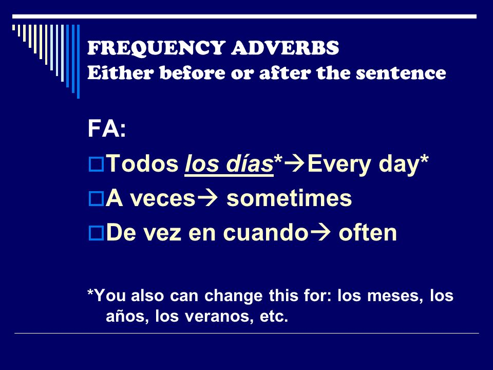 FREQUENCY ADVERBS Either before or after the sentence FA: Todos los días* Every day* A veces sometimes De vez en cuando often *You also can change this for: los meses, los años, los veranos, etc.