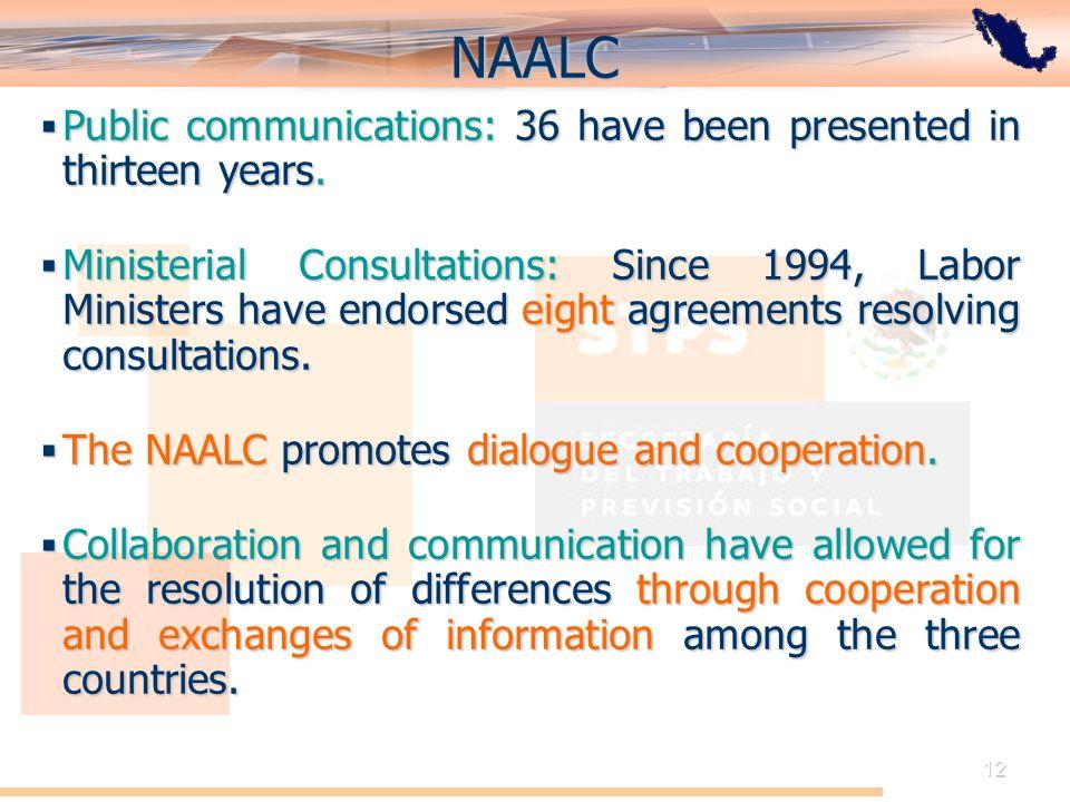 El Acuerdo de Cooperación Laboral de América del Norte: Perspectiva de México 12 NAALC Public communications: 36 have been presented in thirteen years.