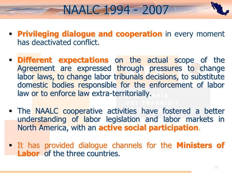 El Acuerdo de Cooperación Laboral de América del Norte: Perspectiva de México 14 NAALC 1994 - 2007 Privileging dialogue and cooperation Privileging di