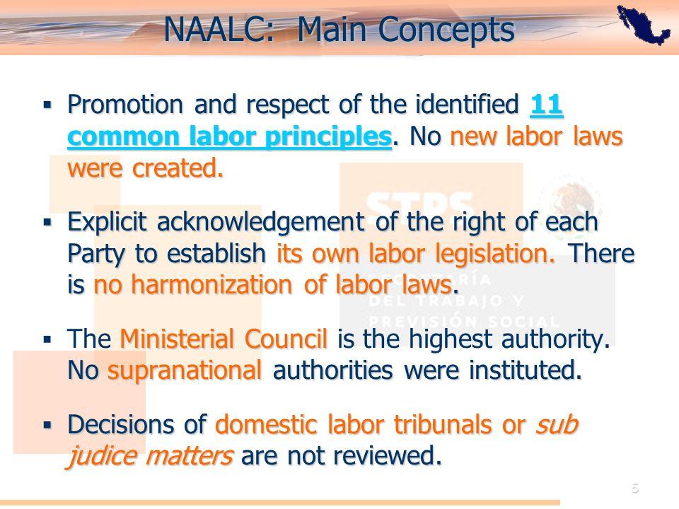 El Acuerdo de Cooperación Laboral de América del Norte: Perspectiva de México 5 NAALC: Main Concepts Promotion and respect of the identified 11 common labor principles.
