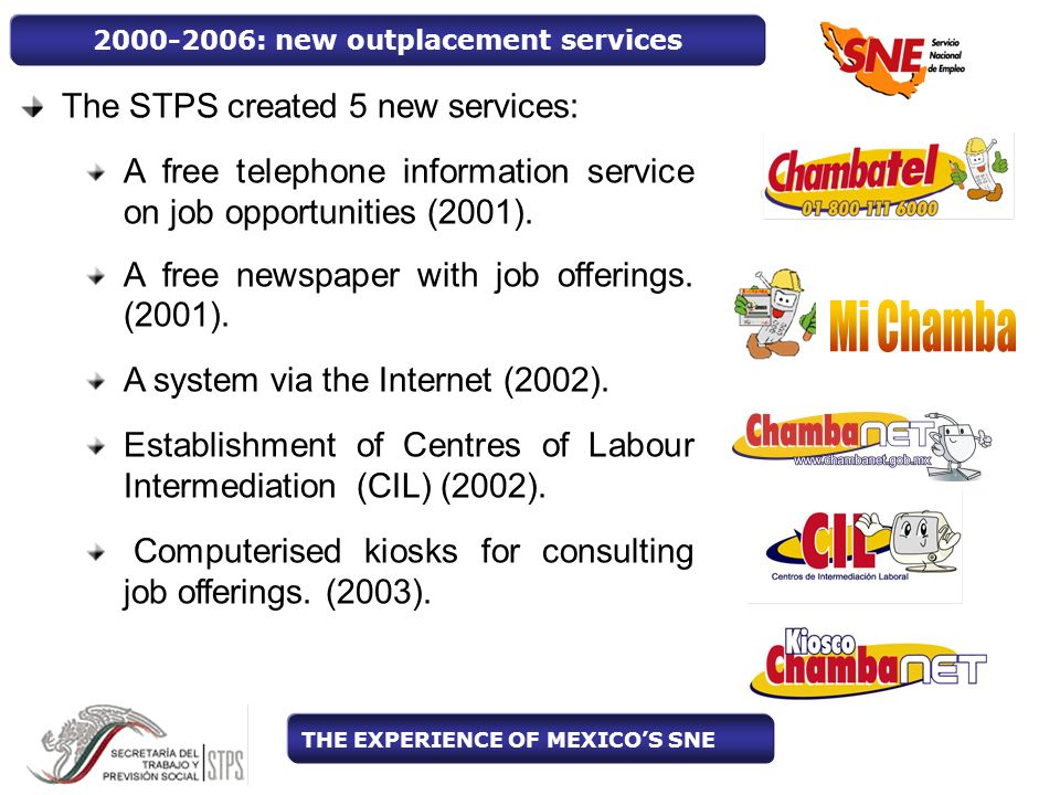 The STPS created 5 new services: A free telephone information service on job opportunities (2001).