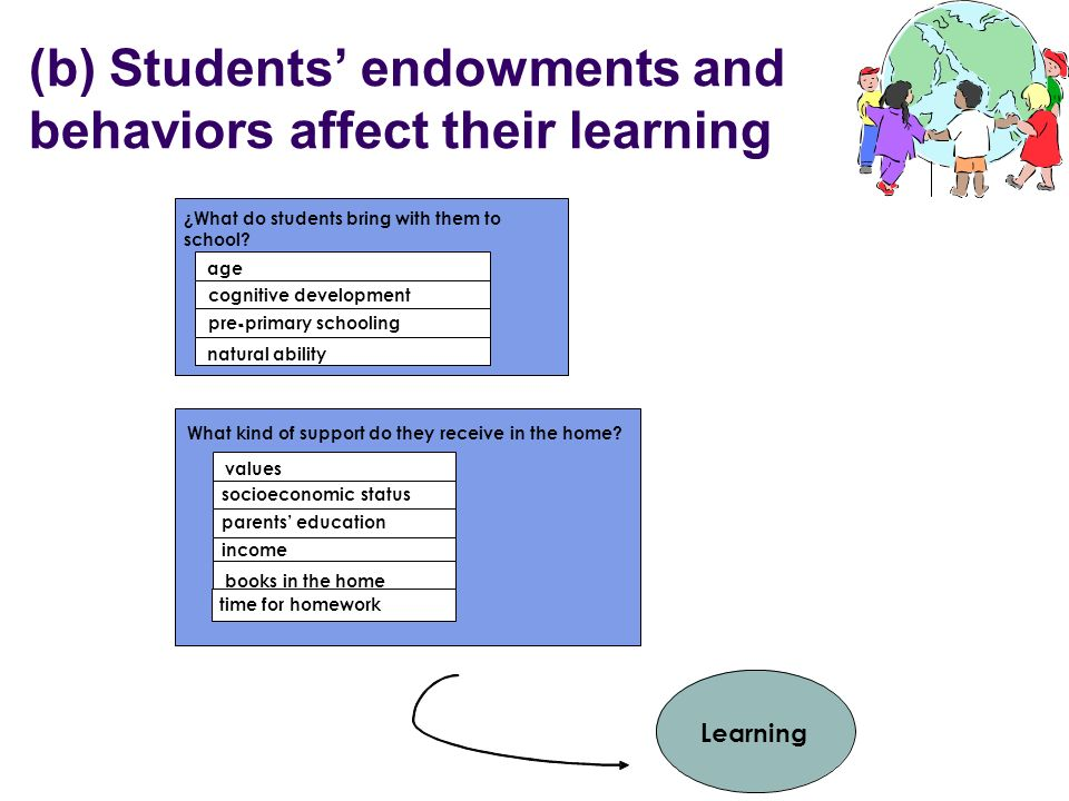 (b) Students endowments and behaviors affect their learning ¿What do students bring with them to school? age pre-primary schooling - cognitive develop