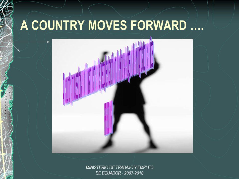 MINISTERIO DE TRABAJO Y EMPLEO DE ECUADOR - 2007-2010 A COUNTRY MOVES FORWARD ….