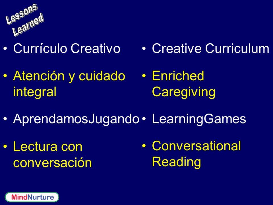 Currículo Creativo Atención y cuidado integral AprendamosJugando Lectura con conversación Creative Curriculum Enriched Caregiving LearningGames Conver
