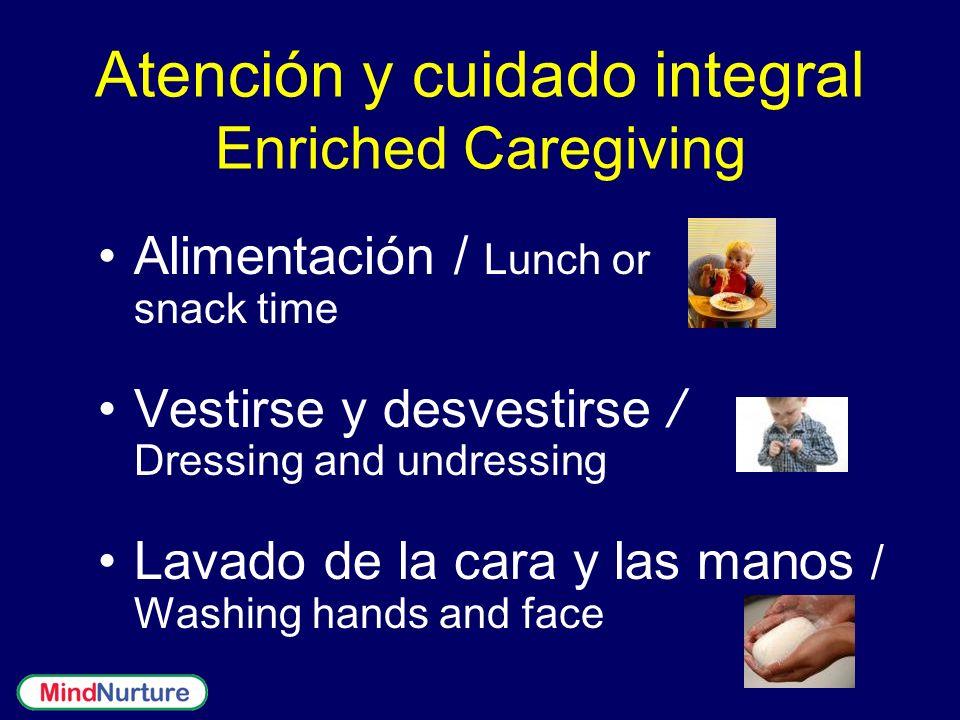 Alimentación / Lunch or snack time Vestirse y desvestirse / Dressing and undressing Lavado de la cara y las manos / Washing hands and face