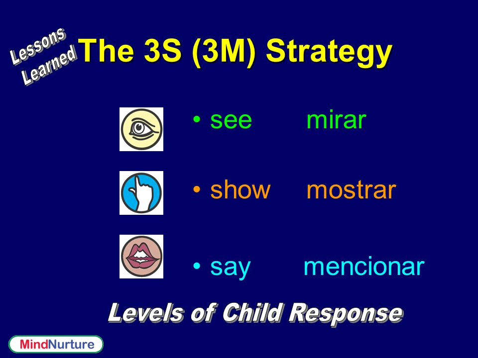 The 3S (3M) Strategy see mirar show mostrar say mencionar