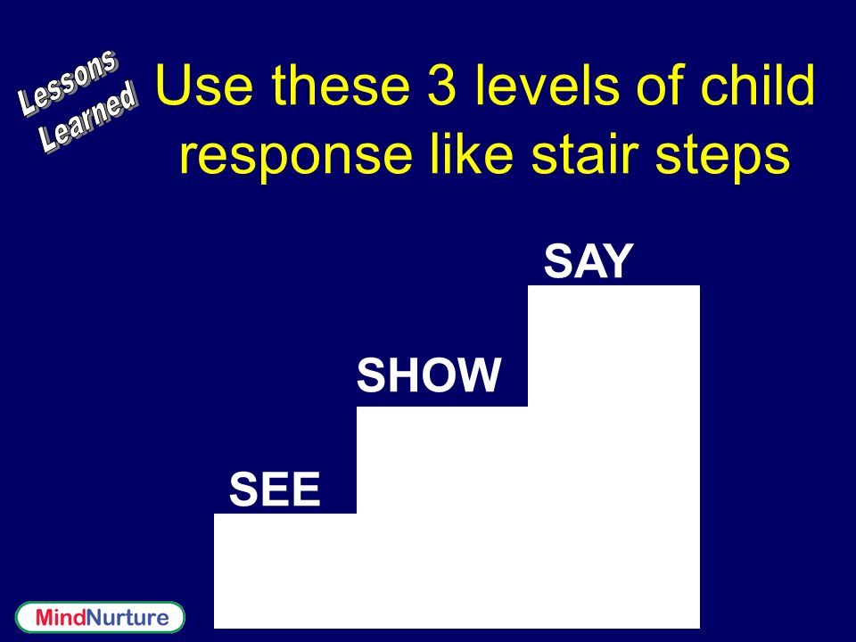 Use these 3 levels of child response like stair steps SEE SHOW SAY