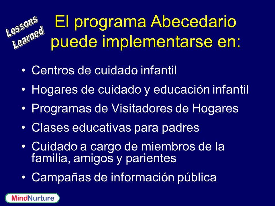 El programa Abecedario puede implementarse en: Centros de cuidado infantil Hogares de cuidado y educación infantil Programas de Visitadores de Hogares