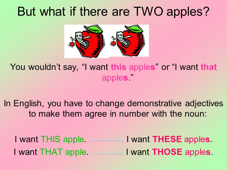 But what if there are TWO apples? You wouldnt say, I want this apple s or I want that apple s. In English, you have to change demonstrative adjectives