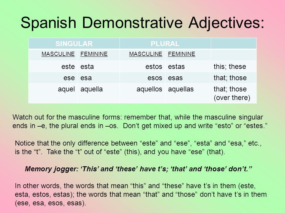 Spanish Demonstrative Adjectives: SINGULARPLURAL MASCULINEFEMININEMASCULINEFEMININE esteestaestosestasthis; these eseesaesosesasthat; those aquelaquel