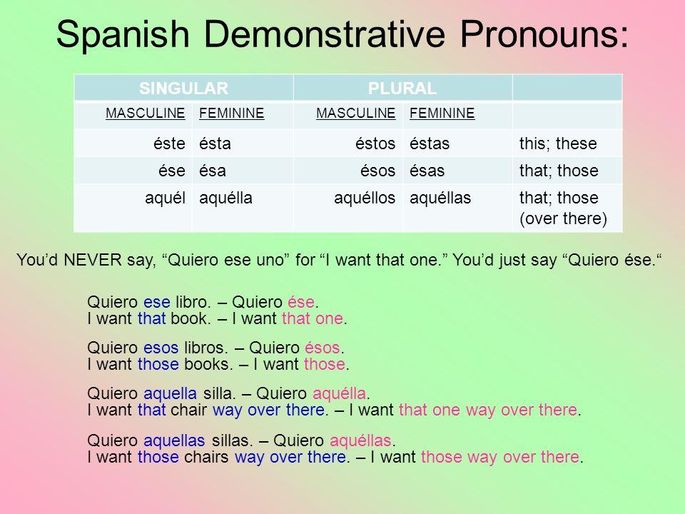 Spanish Demonstrative Pronouns: SINGULARPLURAL MASCULINEFEMININEMASCULINEFEMININE ésteéstaéstoséstasthis; these éseésaésosésasthat; those aquélaquélla