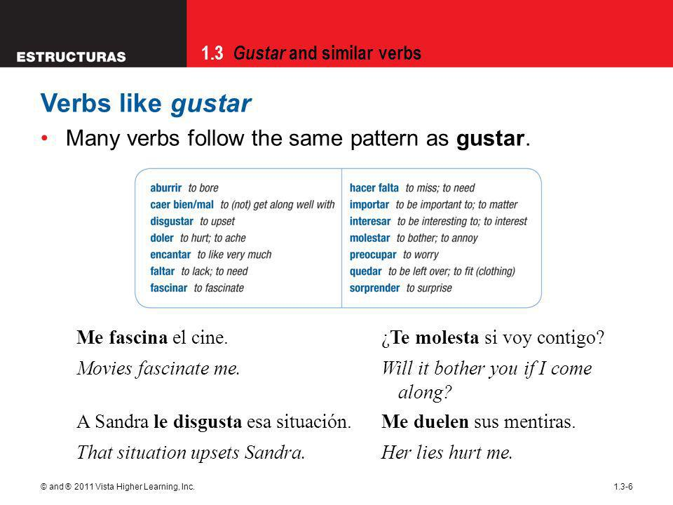 1.3 Gustar and similar verbs © and ® 2011 Vista Higher Learning, Inc.1.3-6 Verbs like gustar Many verbs follow the same pattern as gustar.