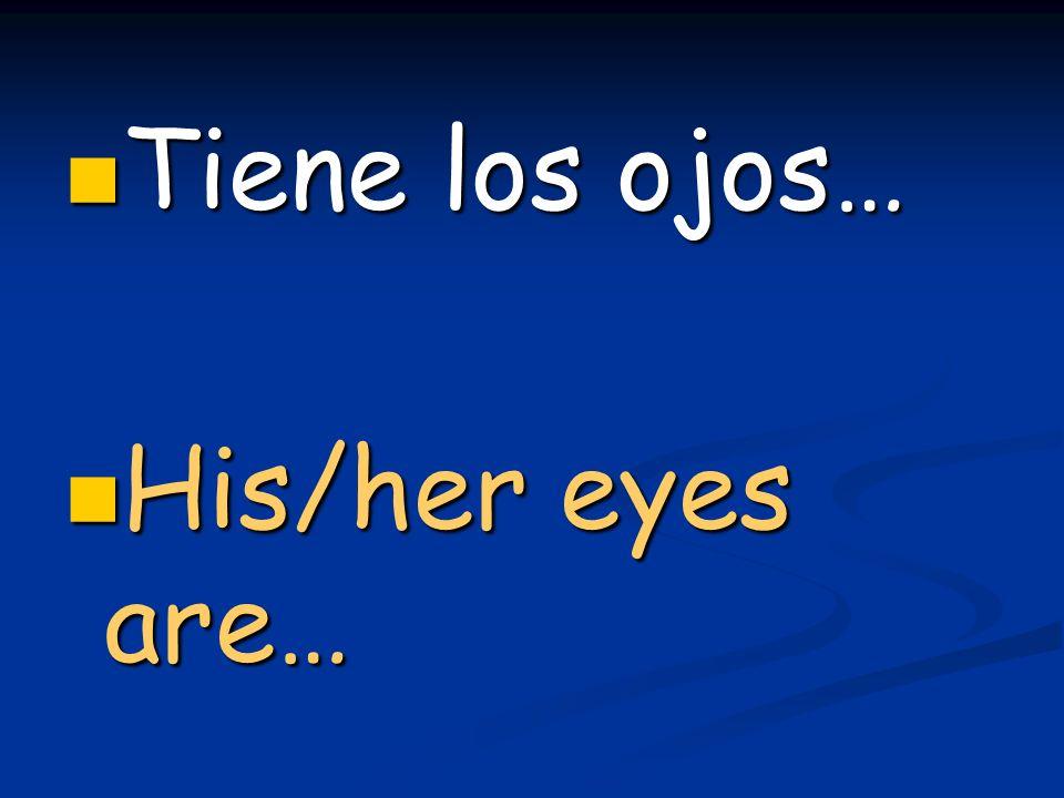 Tiene los ojos… Tiene los ojos… His/her eyes are… His/her eyes are…