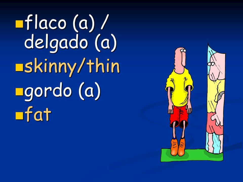 flaco (a) / delgado (a) flaco (a) / delgado (a) skinny/thin skinny/thin gordo (a) gordo (a) fat fat