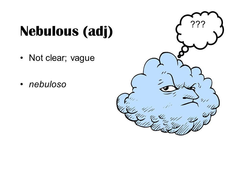 Nebulous (adj) Not clear; vague nebuloso ???