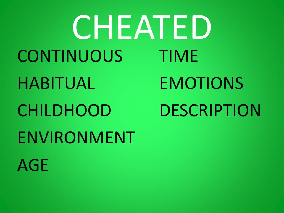CHEATED CONTINUOUSTIME HABITUALEMOTIONS CHILDHOODDESCRIPTION ENVIRONMENT AGE