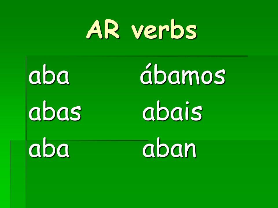 ER/IR verbs ía ía ías ías ía ía íamos íamos íais íais ían ían