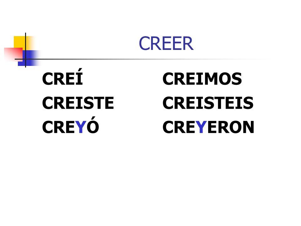 CREER CREÍCREIMOS CREISTECREISTEIS CREYÓCREYERON