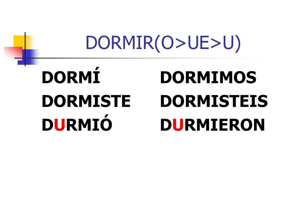 DORMIR(O>UE>U) DORMÍDORMIMOS DORMISTEDORMISTEIS DURMIÓDURMIERON