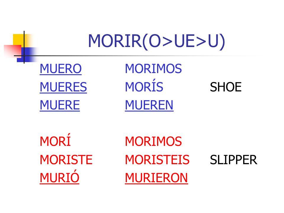 MORIR(O>UE>U) MUEROMORIMOS MUERESMORÍSSHOE MUEREMUEREN MORÍMORIMOS MORISTEMORISTEISSLIPPER MURIÓMURIERON