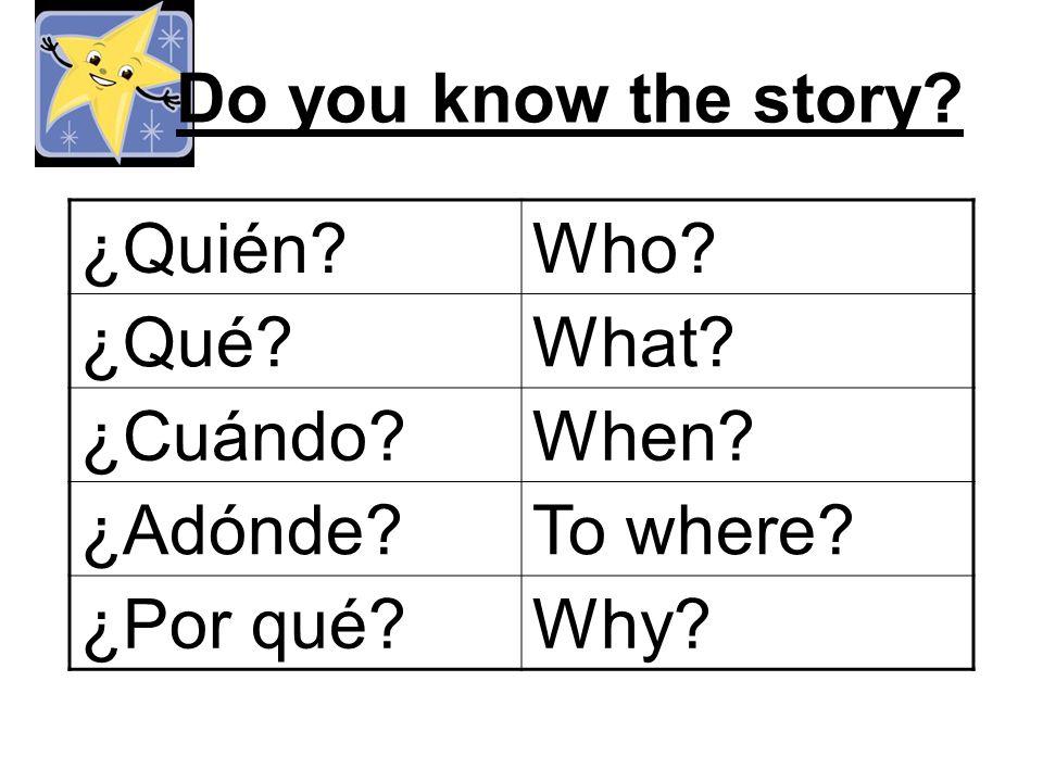 Do you know the story ¿Quién Who ¿Qué What ¿Cuándo When ¿Adónde To where ¿Por qué Why