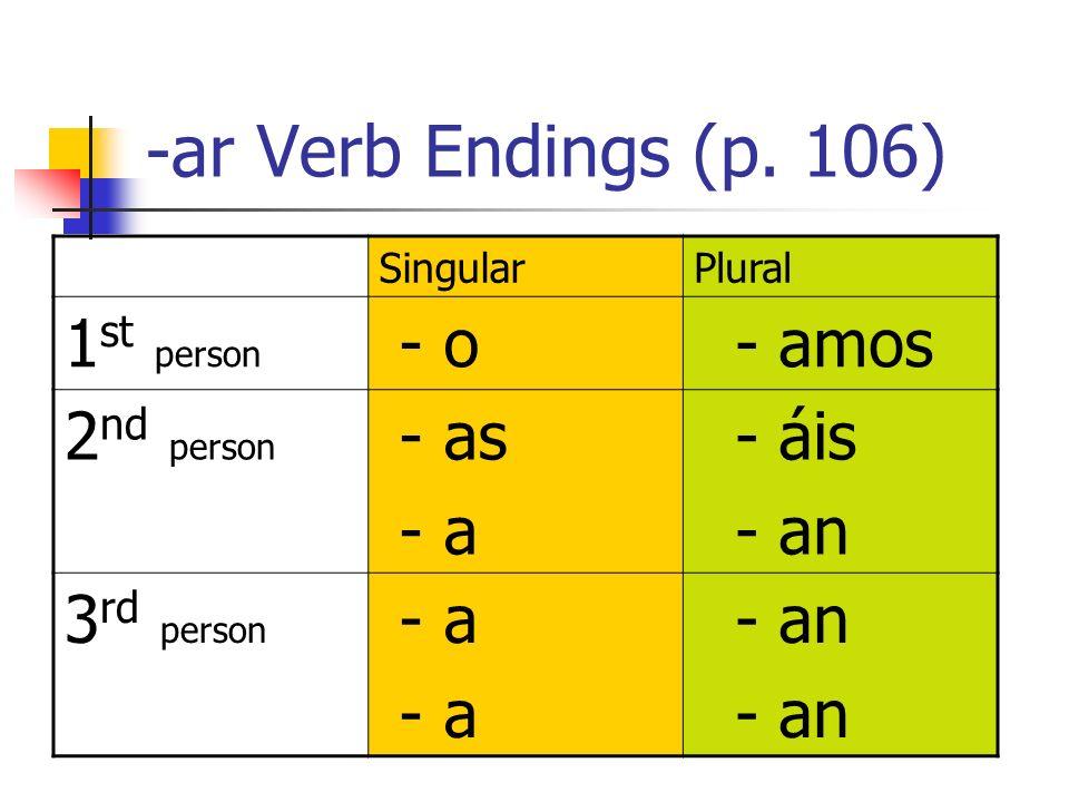 -ar Verb Endings (p. 106) SingularPlural 1 st person - o - amos 2 nd person - as - a - áis - an 3 rd person - a - an