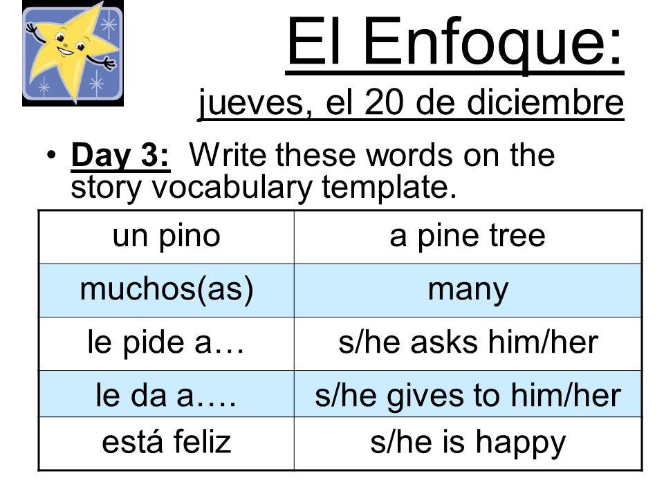 El Enfoque: jueves, el 20 de diciembre Day 3: Write these words on the story vocabulary template. un pinoa pine tree muchos(as)many le pide a…s/he ask
