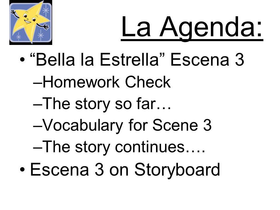 La Agenda: Bella la Estrella Escena 3 –Homework Check –The story so far… –Vocabulary for Scene 3 –The story continues…. Escena 3 on Storyboard