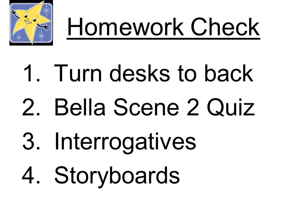 Homework Check 1.Turn desks to back 2.Bella Scene 2 Quiz 3.Interrogatives 4.Storyboards