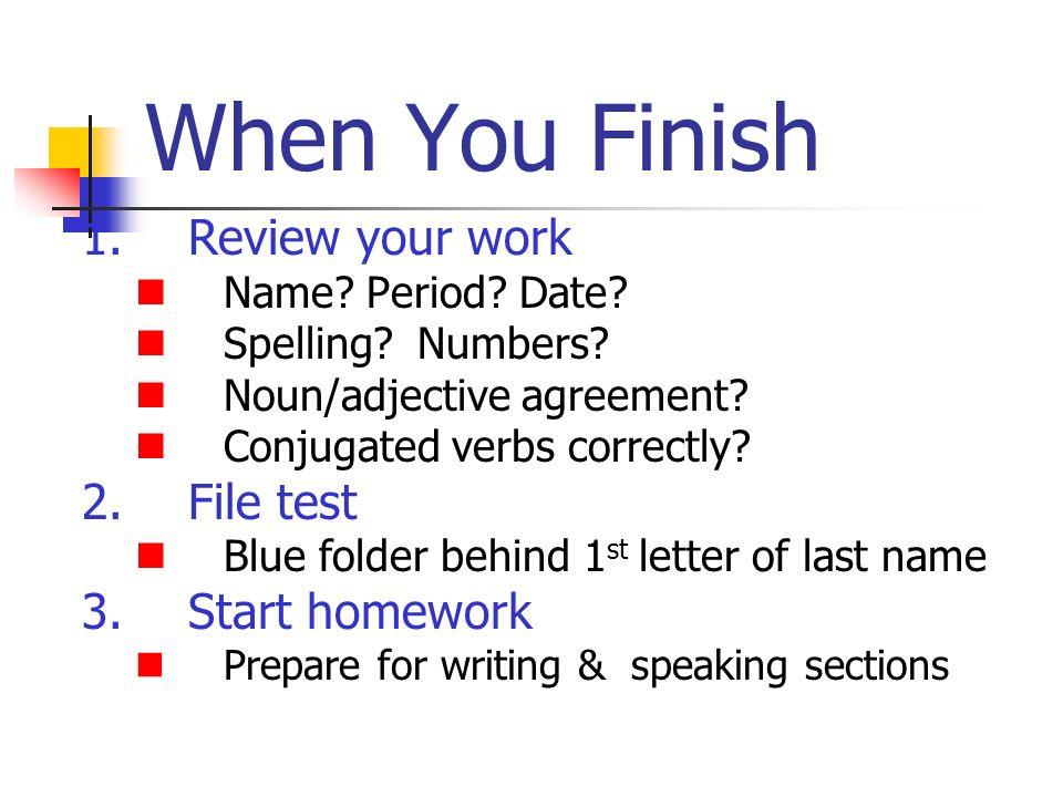 La Tarea: Use Hablar handout to review and prepare to describe your classes tomorrow.