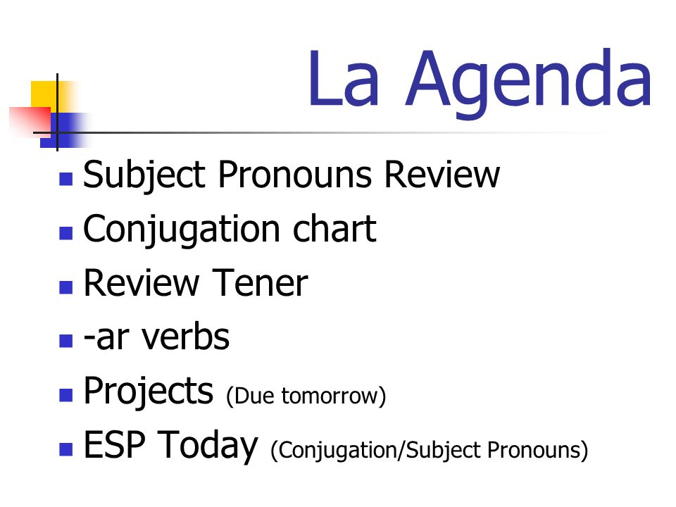 La Agenda Subject Pronouns Review Conjugation chart Review Tener -ar verbs Projects (Due tomorrow) ESP Today (Conjugation/Subject Pronouns)