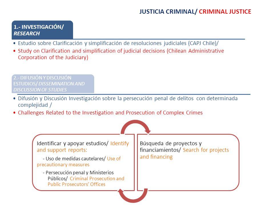 JUSTICIA CRIMINAL/ CRIMINAL JUSTICE 1.- INVESTIGACIÓN/ RESEARCH Estudio sobre Clarificación y simplificación de resoluciones judiciales (CAPJ Chile)/ Study on Clarification and simplification of judicial decisions (Chilean Administrative Corporation of the Judiciary) 2.- DIFUSIÓN Y DISCUSIÓN ESTUDIOS/ DISSEMINATION AND DISCUSSION OF STUDIES Difusión y Discusión Investigación sobre la persecución penal de delitos con determinada complejidad / Challenges Related to the Investigation and Prosecution of Complex Crimes Identificar y apoyar estudios/ Identify and support reports: - Uso de medidas cautelares/ Use of precautionary measures - Persecución penal y Ministerios Públicos/ Criminal Prosecution and Public Prosecutors Offices Búsqueda de proyectos y financiamientos/ Search for projects and financing