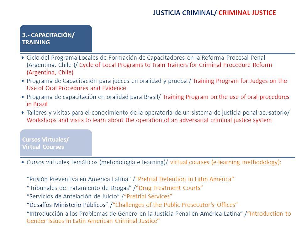 JUSTICIA CRIMINAL/ CRIMINAL JUSTICE 3.- CAPACITACIÓN/ TRAINING Ciclo del Programa Locales de Formación de Capacitadores en la Reforma Procesal Penal (Argentina, Chile )/ Cycle of Local Programs to Train Trainers for Criminal Procedure Reform (Argentina, Chile) Programa de Capacitación para jueces en oralidad y prueba / Training Program for Judges on the Use of Oral Procedures and Evidence Programa de capacitación en oralidad para Brasil/ Training Program on the use of oral procedures in Brazil Talleres y visitas para el conocimiento de la operatoria de un sistema de justicia penal acusatorio/ Workshops and visits to learn about the operation of an adversarial criminal justice system Cursos Virtuales/ Virtual Courses Cursos virtuales temáticos (metodología e learning)/ virtual courses (e-learning methodology): Prisión Preventiva en América Latina /Pretrial Detention in Latin America Tribunales de Tratamiento de Drogas /Drug Treatment Courts Servicios de Antelación de Juicio /Pretrial Services Desafíos Ministerio Públicos /Challenges of the Public Prosecutors Offices Introducción a los Problemas de Género en la Justicia Penal en América Latina /Introduction to Gender Issues in Latin American Criminal Justice
